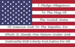 American Flag With The Pledge Of Allegiance. Printed On The Stripes Royalty Free Stock Images