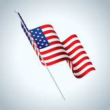 American Flag on Pole Waving Illustration Stock Image