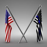 American flag and Police flag. 3d render Royalty Free Stock Photo