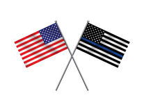 American Flag and Police Support Flag Illustration. An American flag and police support flag isolated on a white background. Vector EPS 10 available vector illustration
