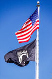 American Flag and POW MIA Flag stock photo