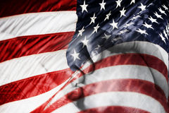 American Flag & Praying Hands (Blended Image) Stock Images