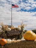American flag at a pumpkin patch Stock Photo