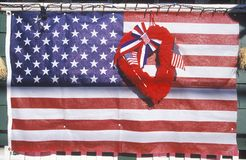 American Flag with Red Heart, New England Stock Image