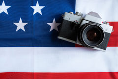 American flag and retro photo camera Royalty Free Stock Photo