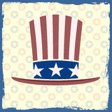 American flag retro themed hat on grungy backgroun. Detailed illustration of an american flag retro themed hat on a grungy background Royalty Free Stock Photo