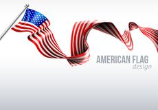 American Flag Ribbon Design. An American flag ribbon background design patriotic graphic Royalty Free Stock Image