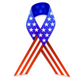 American Flag Ribbon EPS. An illustration of a ribbon shaped American flag. Shadow placed on separate layer for ease of use. Available in vector EPS format stock illustration