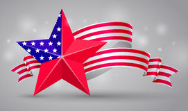 American flag ribbon and star. USA flag symbol. 4 July Royalty Free Stock Photography
