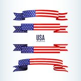 American flag ribbon stars stripes Patriotic American theme USA flag of a wavy ribbon shape icon Design element for Independence. American flag ribbon, stars vector illustration