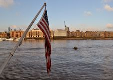 American flag River Thames London Royalty Free Stock Photography