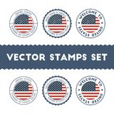 American flag rubber stamps set. National flags grunge stamps. Country round badges collection Royalty Free Stock Photos