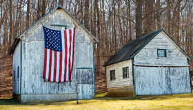 American flag and rural America Royalty Free Stock Image