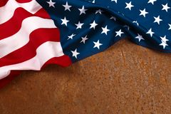 American flag on rusty background  top view royalty free stock photo