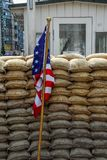 American flag on sandbags royalty free stock photo