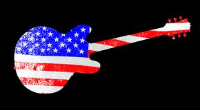 Patriot Flag Shaped Guitar Over Black. An American flag seen through an electric guitar outline on black Royalty Free Stock Photo