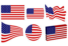 American Flag Set. Set of USA flags in classic, round, 3D, waving, beveled and diminishing perspective Royalty Free Stock Images