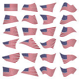 American Flag Set.American Flag Blowing In The Wind.Vector Illus Stock Images