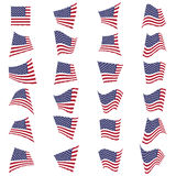 American flag set.American flag blowing in the wind.Vector illus royalty free illustration