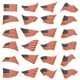 American flag set.American flag blowing in the wind.Vector illus. Tration Royalty Free Stock Image