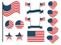 American flag set. Collection of symbols with the flag of the United States of America. Vector. Illustration Stock Photos