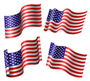 American flag set. In different positions isolated on white Stock Images