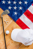 American flag and a set of golf Stock Photography
