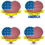 American flag in the shape of heart Stock Image