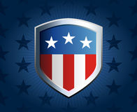 American flag shield background. American flag inlay on shield emblem with star background Stock Image