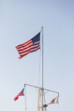 American Flag on Ships Rig Stock Photo
