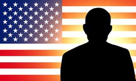 American flag and the silhouette Royalty Free Stock Photos