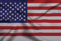 American Flag on Silk Fabric Stock Photo