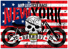 American Flag Skull Motorcycle Man T shirt Graphic Vector Design Royalty Free Stock Image
