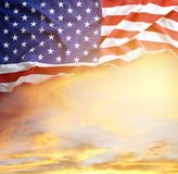 Flag and sky. American flag in the sky Stock Images