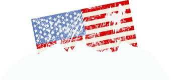 American flag snow covered,. USA flag snow covered, sunken in a snow bank vector illustration. Bomb cyclone natural disaster symbol Stock Photography