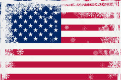 American flag with snowflakes grunge Stock Photos