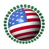 American flag sphere with dollar symbols Stock Images