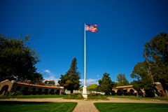 American Flag stands above LA National Cemetery Royalty Free Stock Image