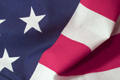 American Flag: Stars and Stripes. A detailed shot of the American flag with great texture on the cloth. Captures importance of the contrast between the stars and Royalty Free Stock Photo