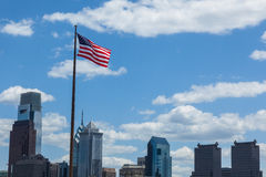 American flag stars and stripes  floating in front of the  - Phi Stock Photography