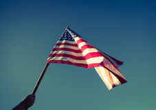 American flag with stars and stripes hold Royalty Free Stock Image