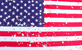 American flag stars and stripes with many colorful confetti Stock Photography