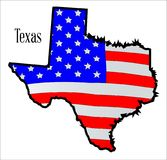Texas Map and Stars And Stripes Flag Over White. The American flag, the Stars and Stripes outlined with a map of Texas Royalty Free Stock Images