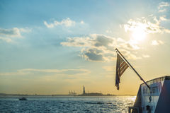 American flag with Statue of Liberty, New York City , USA .  ( F Royalty Free Stock Photo