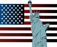 American flag and statue of liberty Stock Photos