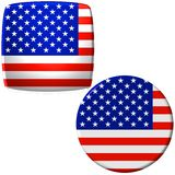 American flag stickers. Two American flag stickers presented on white background Royalty Free Stock Photo