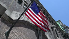 American flag in the streets of Manhattan, New York City, USA stock footage