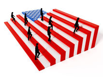 American flag with stripes arranged as ladders. 3D illustration Stock Photos