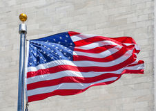 American flag in a strong wind in USA Royalty Free Stock Photos