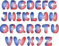 American Flag stylized alphabet. Isolated over white Stock Illustration